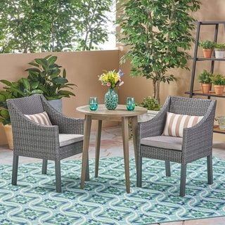 Nicola Outdoor 3 Piece Wood and Wicker Bistro Set by Christopher Knight Home