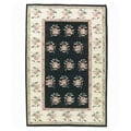 Nourison Hand-woven Mongol Kilim Black Wool Rug (7'9 x 9'9)