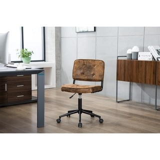 Porthos Home Office Chair With Suede Upholstery & Adjustable Height