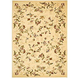 Lyndhurst Collection Floral Beige Rug (8' x 11')