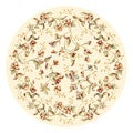 Lyndhurst Collection Floral Beige Rug (4' 11 Round)
