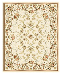Lyndhurst Collection Floral Ivory Rug (8' x 11')