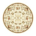 Lyndhurst Collection Floral Ivory Rug (5' 3 Round)