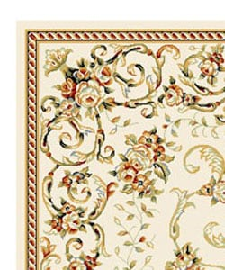 Lyndhurst Collection Floral Ivory Rug (5'3 x 8'3)