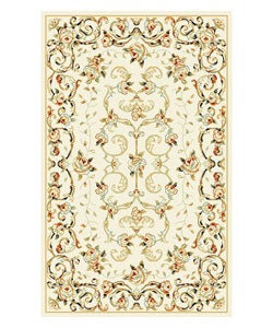 Lyndhurst Collection Floral Ivory Rug (3'3 x 5'3)