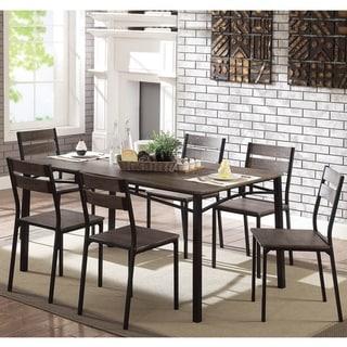 Furniture of America Vae Rustic Brown Metal 7-piece Dining Set