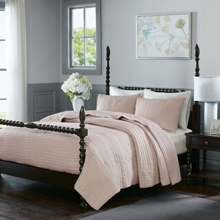 Madison Park Signature Serene Blush Cotton Hand Quilted Coverlet Set