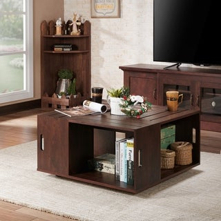 Furniture of America Masa Contemporary Walnut Open Shelf Coffee Table