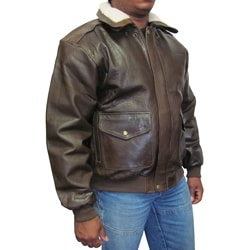 Amerileather Men's Distressed Brown Leather Bomber Jacket