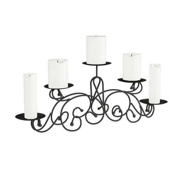 5 Candle Candelabra with Classic Scroll Design- Handcrafted Iron Candle Holder by Lavish Home (Matte Black)