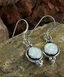 Indian Handcrafted Silvery Opal Earrings (Set of 2)