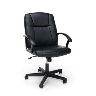 Porch & Den Morris Adjustable Black Leather Office Chair