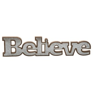 "Wood & Metal ""Believe"" Sign"