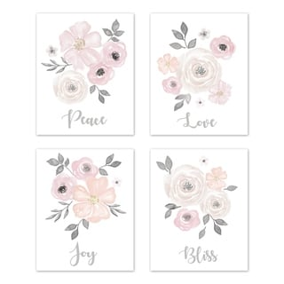 Sweet Jojo Designs Blush Pink & Grey Love Peace Joy Bliss Watercolor Floral Collection Wall Decor Art Prints (Set of 4)