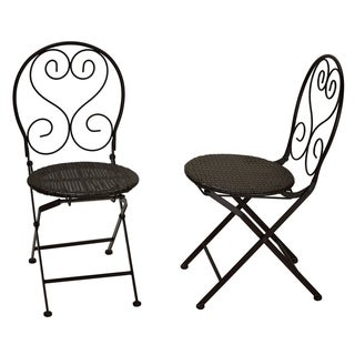 "Cortesi Home Deedee Indoor/Outdoor Metal Folding Chair with Wicker Seat, set of 2 - 15""w x 15""l x 33""h"