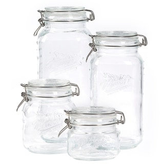 4pc Mason Glass Clamp Jar Set