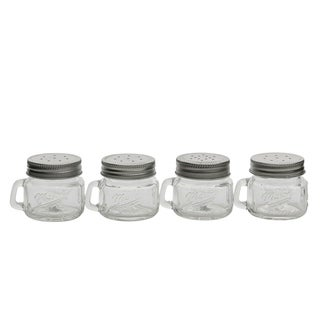 4pk 2oz Mason Glass Salt & Pepper W/Handle and Silver Metal Lid