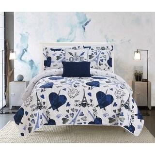 "Chic Home Matisse 5 Piece Reversible Quilt Set ""Paris Is Love"" Inspired Printed Design"