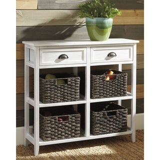 Oslember Casual White Accent Table with 4 Baskets