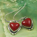 Handcrafted Coral Red Heart Earrings (India)