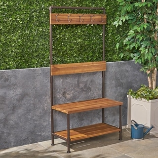 Hansen Outdoor Industrial Acacia Wood Bench with Shelf and Coat Hooks by Christopher Knight Home