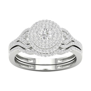 De Couer 10k Gold 1/2ct TDW Diamond Halo Birdal Ring