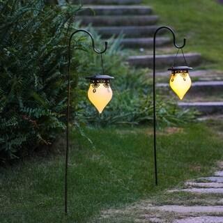 Salem Set of 2 Classical Hanging Solar Lanterns with Shepherd Hooks by Havenside Home