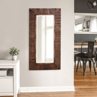 Strick & Bolton Ives Rustic Wood Plank Framed Mirror - Walnut - A/N