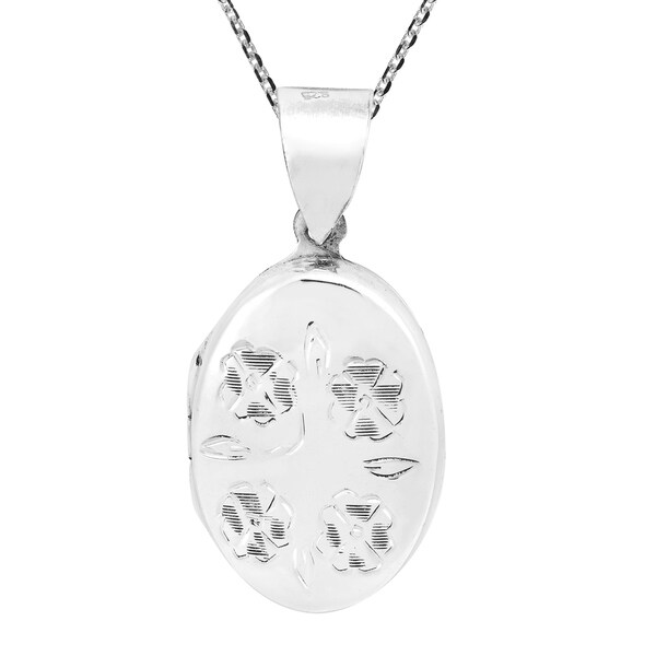 Handmade Pretty & Floral Sterling Silver Oval Locket Necklace (Thailand) 37946905