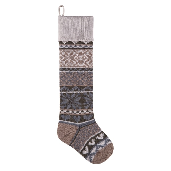 Grey Knit Christmas Stocking