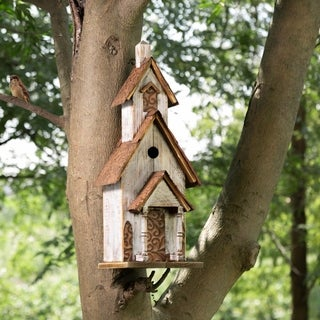 "Glitzhome 23.62""H Oversized Rustic Wood White Birdhouse"