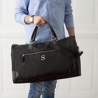 "Personalized Men's Black Microfiber Convertible Garment Bag - L: 20.75"" W: 9"" H: 12"""