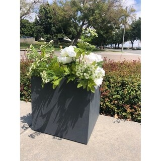 Durx-litecrete Lightweight Concrete Modern Square Granite Planter-Large - 15.7'x15.7'x15.7'
