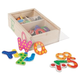 52 Pc. Math and Alphabet Magnet Set- Magnetic Wooden Refrigerator Letters and Numbers Hey! Play!