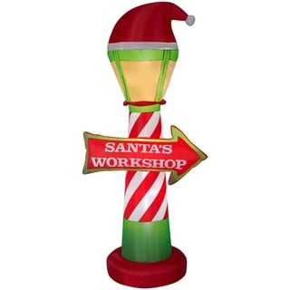 Christmas Airblown Inflatables Santa's Workshop Lamp Post and Sign