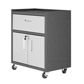 "Fortress Textured Metal 31.5"" Garage Mobile Cabinet with 1 Full Extension Drawer and 2 Adjustable Shelves in Grey"