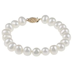 DaVonna 14k Gold White Cultured FW Pearl Bracelet (7.5-8mm)
