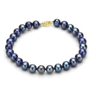 DaVonna 14k Gold Black Cultured FW Pearl Bracelet (7.5-8mm)