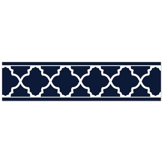 Sweet Jojo Designs Navy and White Trellis Collection Wallpaper Wall Border