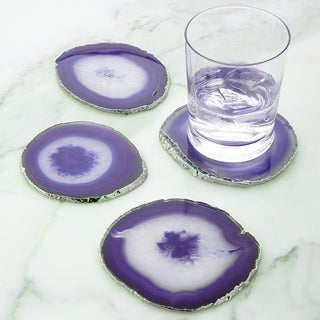 Modern Home Set of 4 Natural Agate Stone Coasters