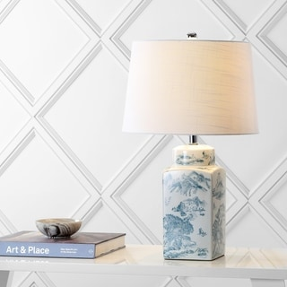 """Audrey 24.5"""" Chinoiserie LED Table Lamp, Blue/White by JONATHAN Y"""