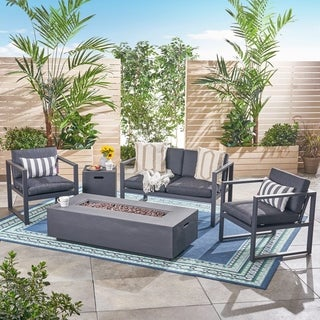 Navan Outdoor 4-Seater Aluminum Chat Set with Fire Pit and Tank Holder by Christopher Knight Home