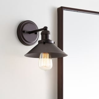 """July 7.75"""" 1-light Metal Shade Sconce, Oil Rubbed Bronze by JONATHAN Y"""