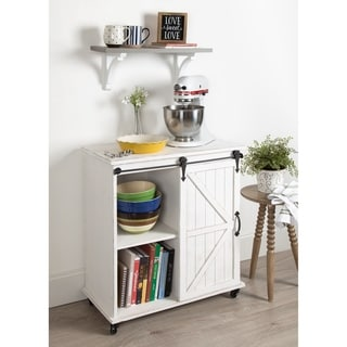 Kate and Laurel 'Cates' White Rolling Kitchen and Bar Cart