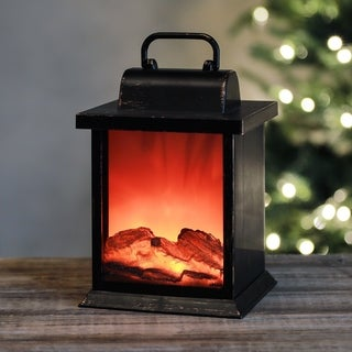 Small Faux Fireplace LED Lantern