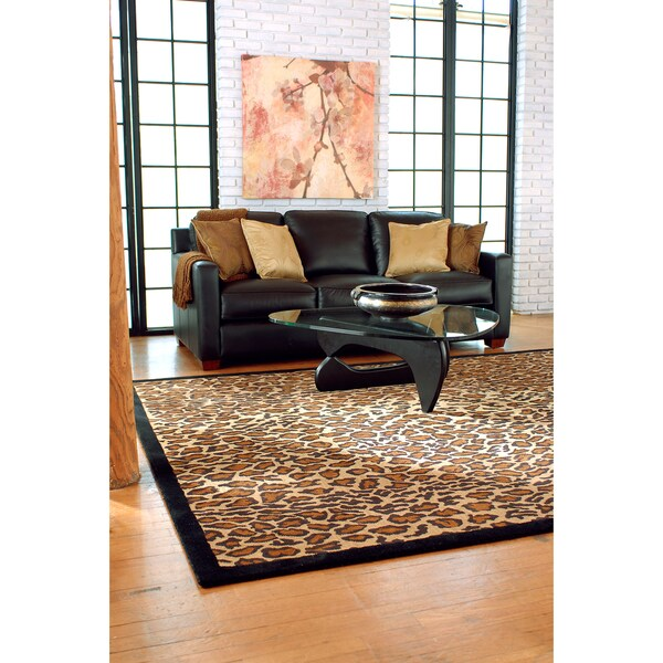 Hand-tufted Brown Leopard Animal Print Safari Wool Rug (5' x 8')
