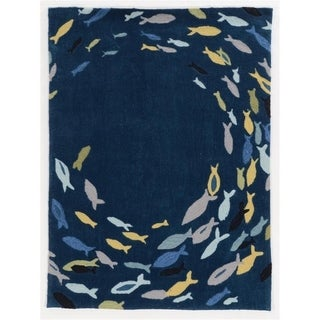 Trinity Fish Navy/Multi Rug - 5' x 7'