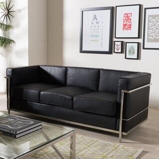 Mason Black Leather Sofa
