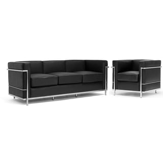 LC Black Leather Sofa & Chair Set