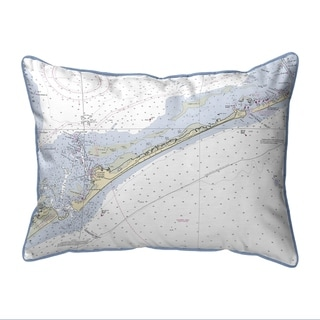 Ocracoke Inlet, NC Nautical Map Small Pillow 11x14
